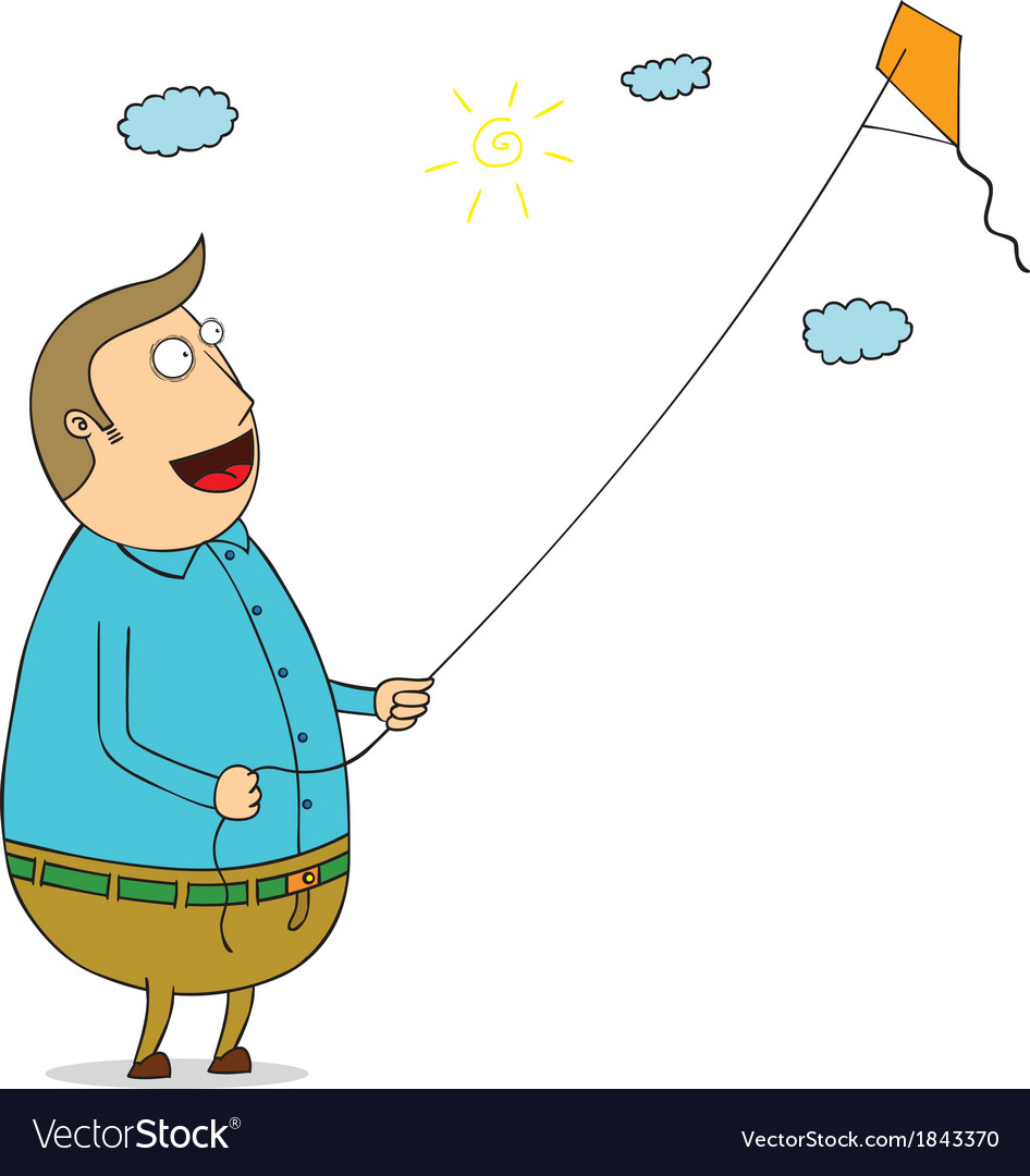 Man with kite vector | Price: 1 Credit (USD $1)