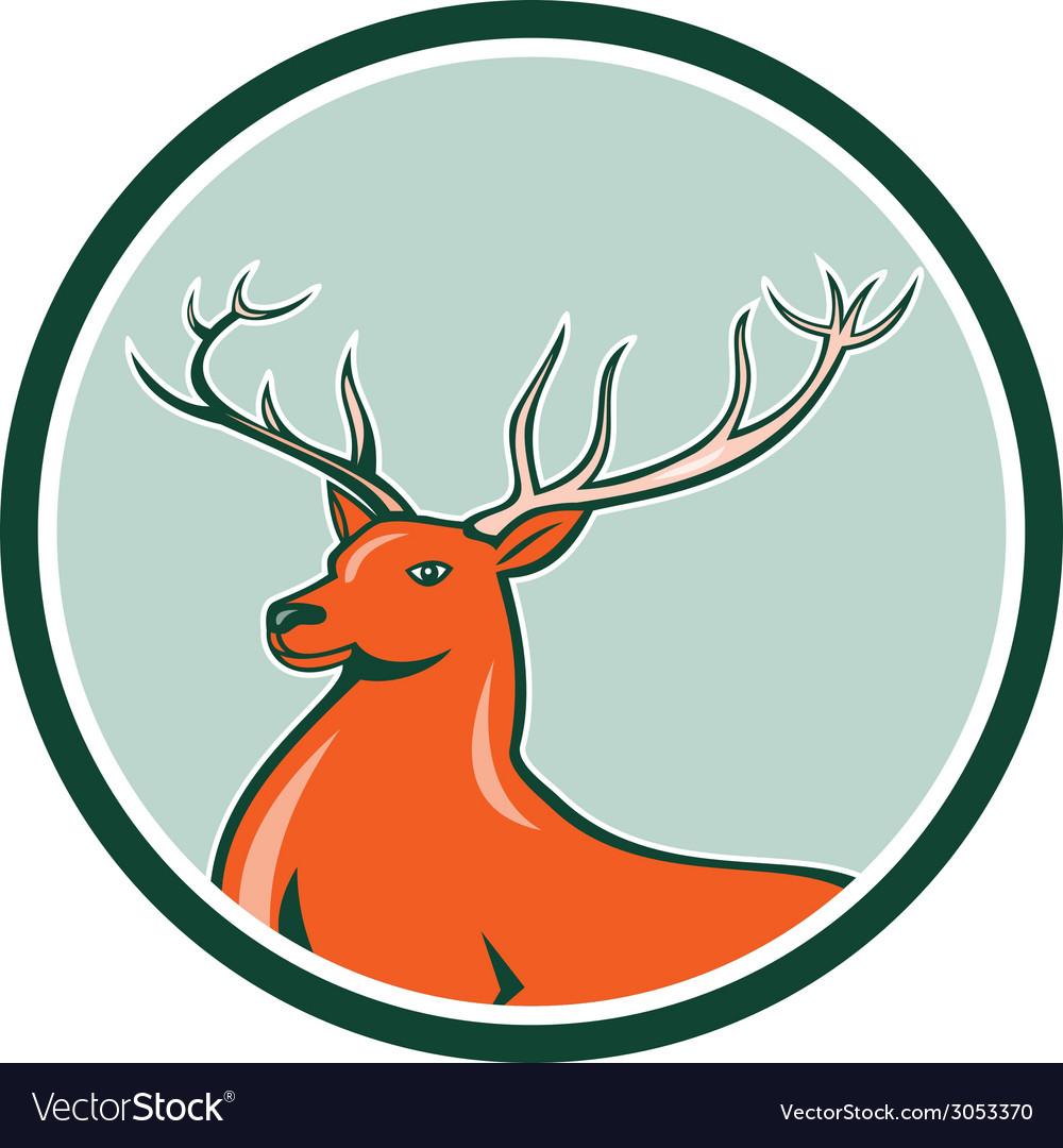 Red stag deer side circle cartoon vector | Price: 1 Credit (USD $1)