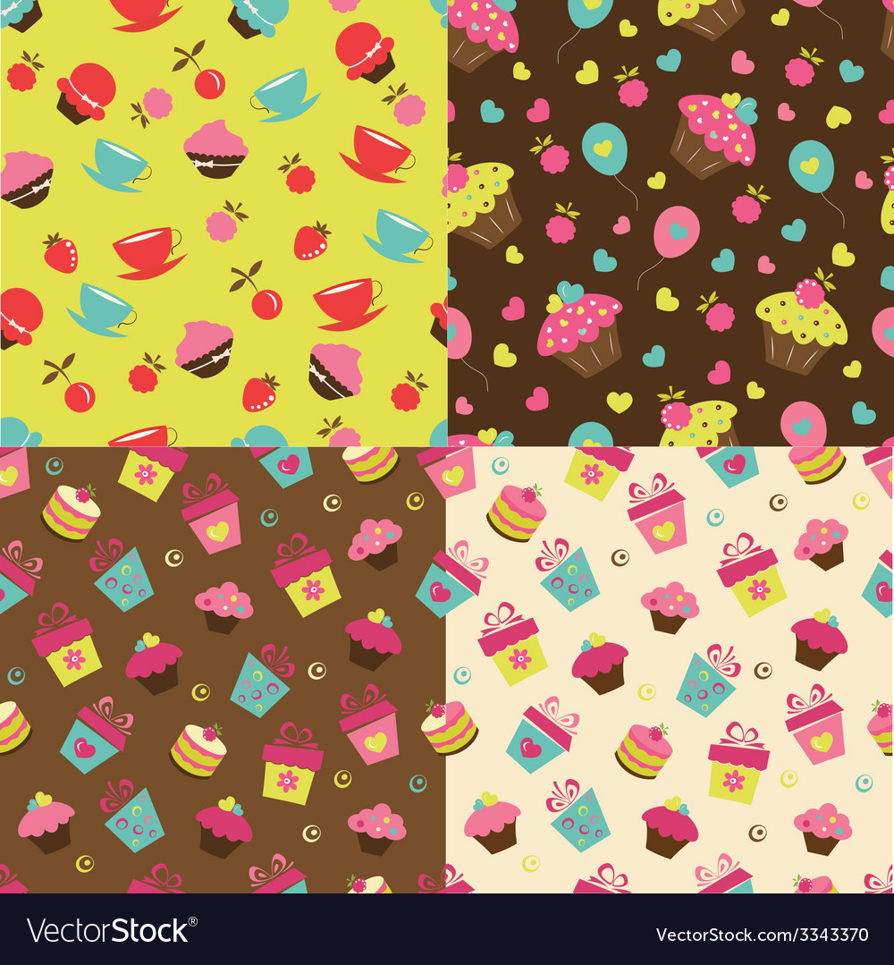 Set of cake seamless patterns vector | Price: 1 Credit (USD $1)