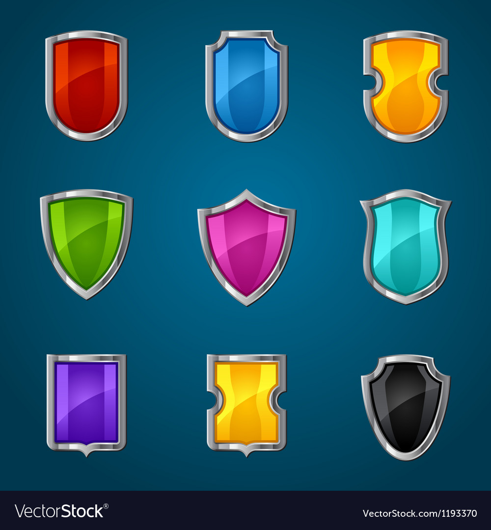Set of shield icons symbols and signs vector | Price: 1 Credit (USD $1)