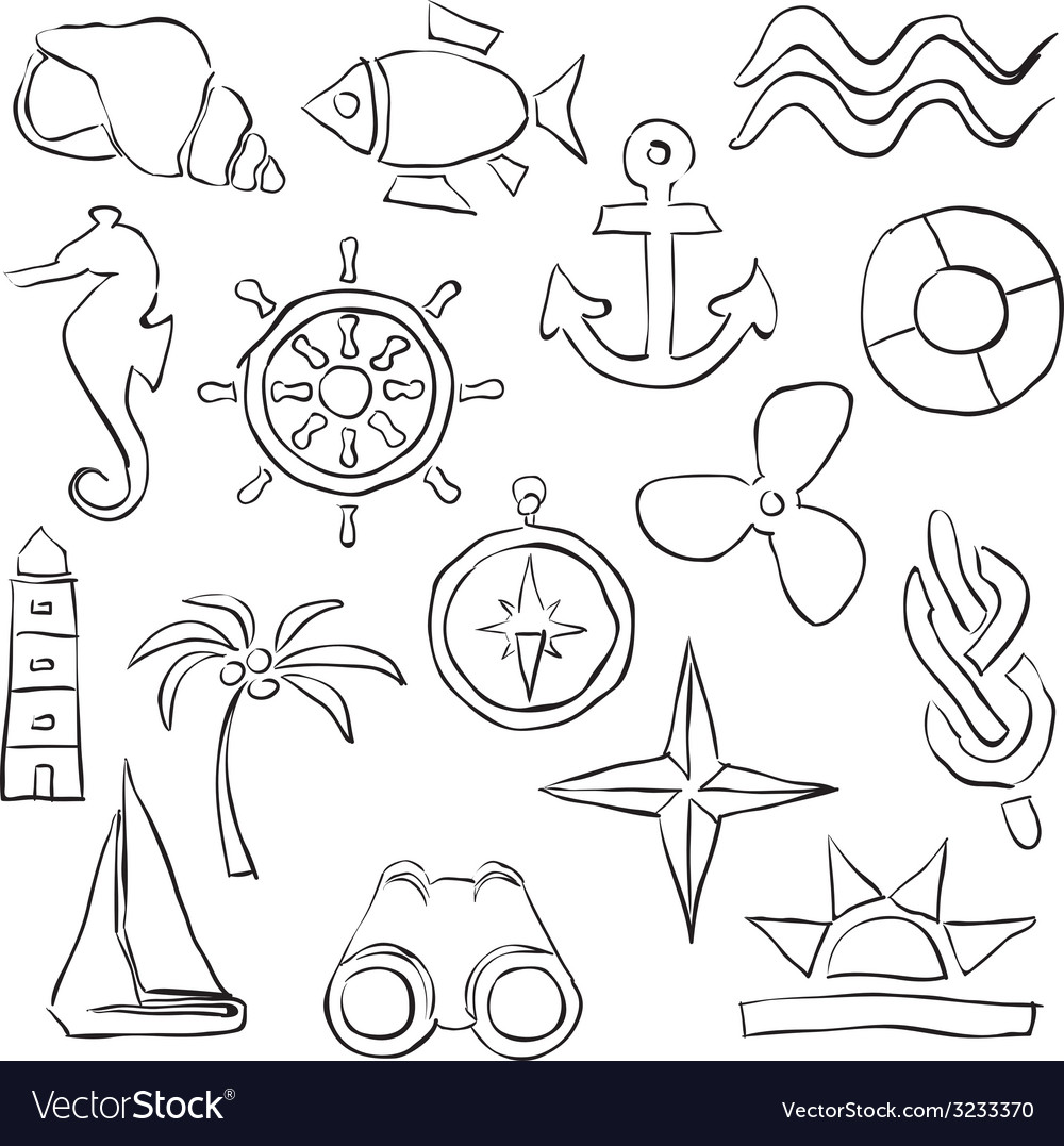 Sketch marine images vector | Price: 1 Credit (USD $1)