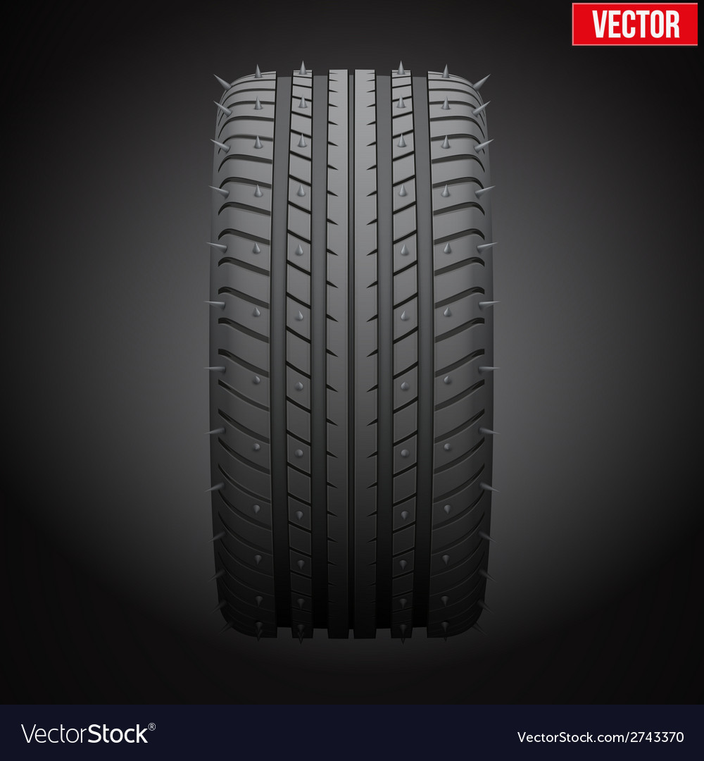 Winter tires with metal spikes on dark background vector | Price: 1 Credit (USD $1)