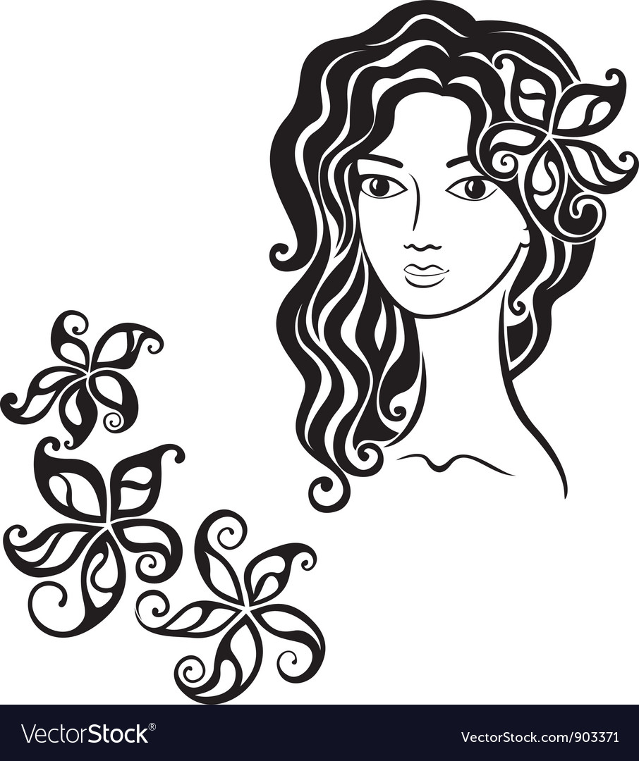 Beautiful girl with flower in her hair vector | Price: 1 Credit (USD $1)