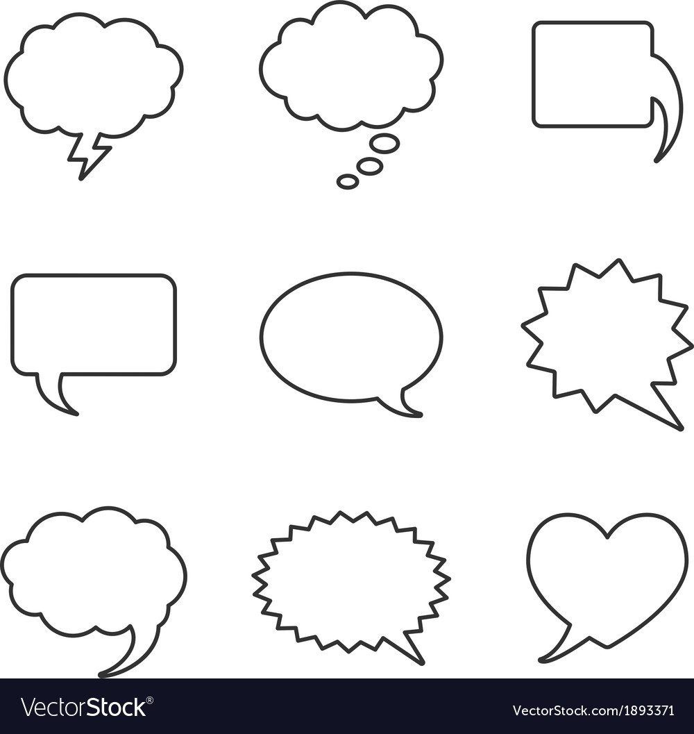 Blank empty white speech bubbles vector | Price: 1 Credit (USD $1)