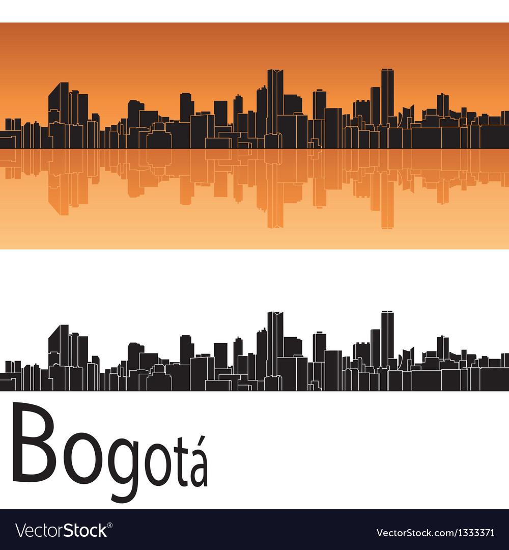 Bogota skyline in orange background vector | Price: 1 Credit (USD $1)
