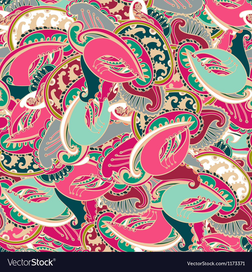 Colourful seamless indian paisley pattern vector | Price: 1 Credit (USD $1)