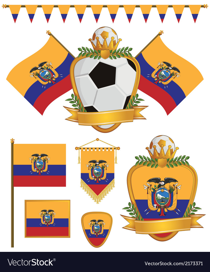 Ecuador flags vector | Price: 1 Credit (USD $1)