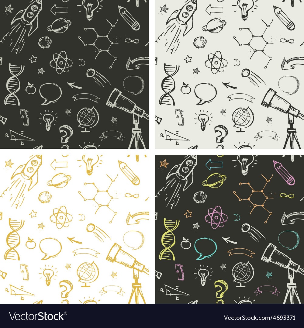 Education science doodles - seamless patterns vector | Price: 1 Credit (USD $1)