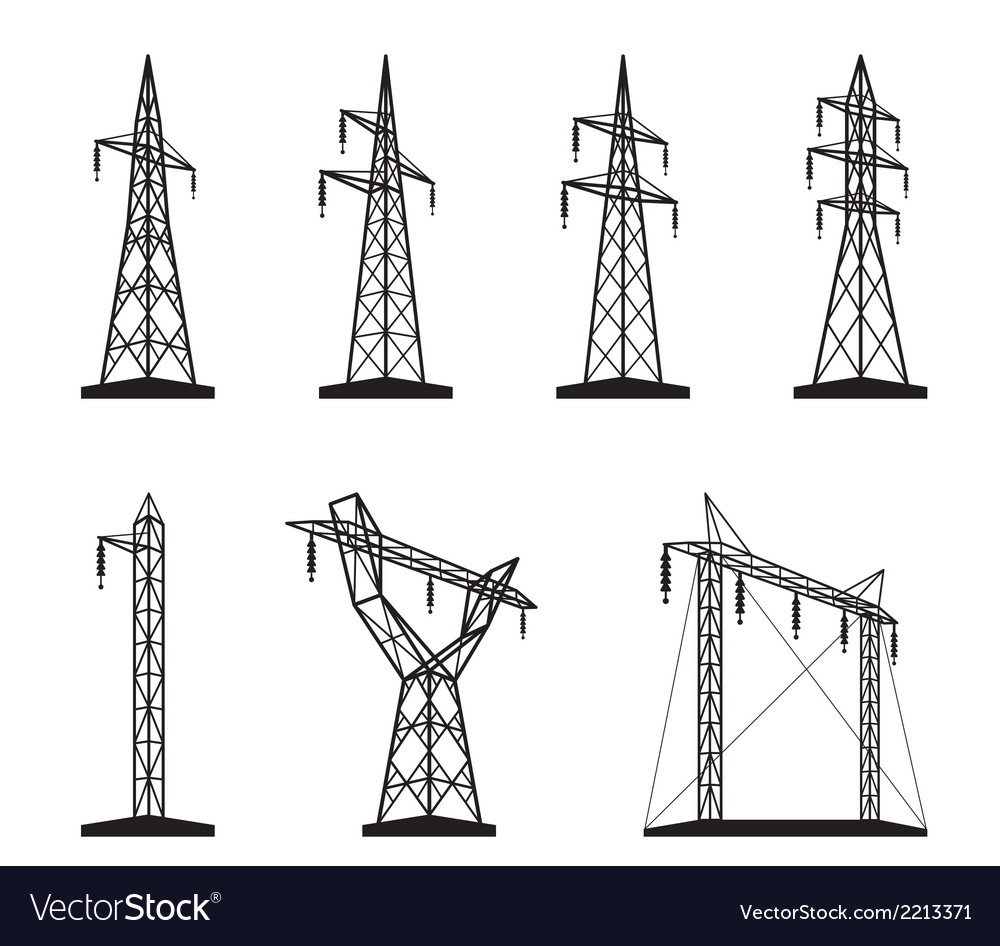 Electrical transmission tower types in perspective vector | Price: 1 Credit (USD $1)