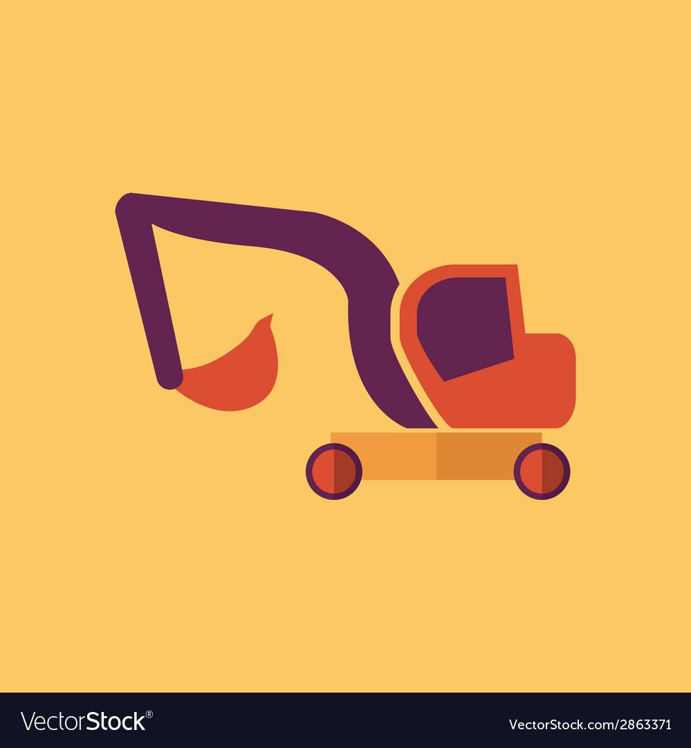 Excavator transportation flat icon vector | Price: 1 Credit (USD $1)