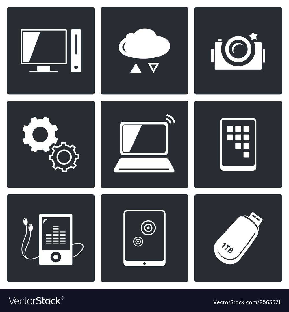 Exchange of information technology icons set vector | Price: 1 Credit (USD $1)