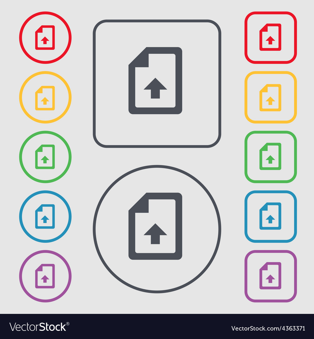 Export upload file icon sign symbol on the round vector | Price: 1 Credit (USD $1)