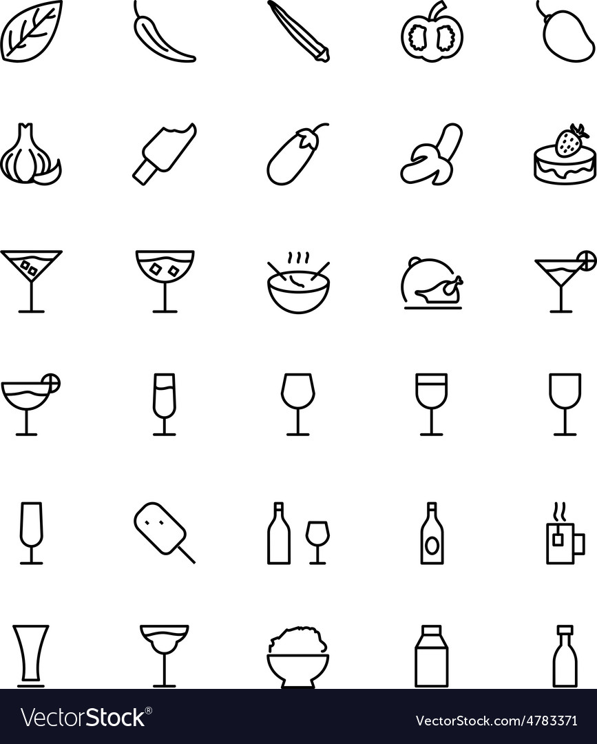 Food and drinks line icons 16 vector