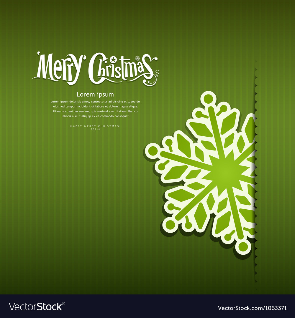 Merry christmas snowflakes paper green background vector | Price: 1 Credit (USD $1)