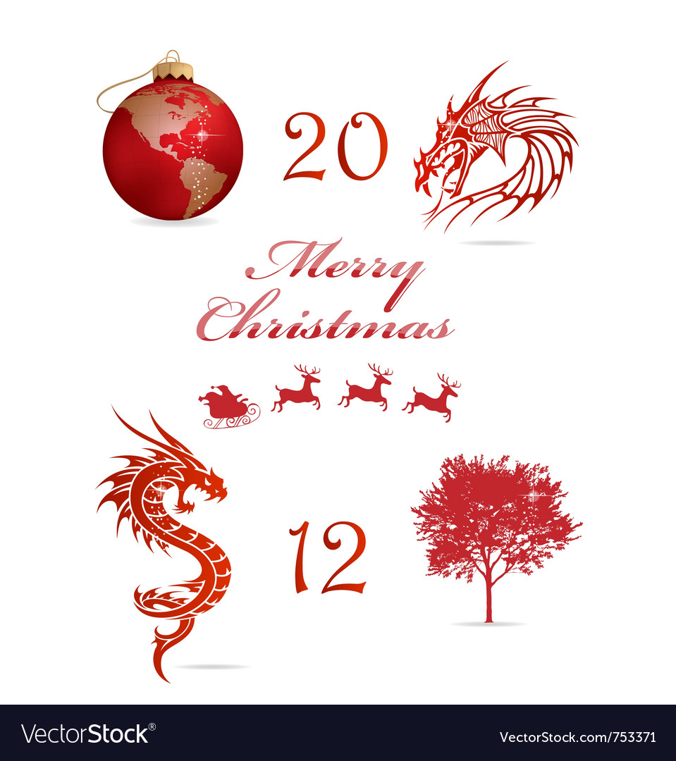 Merry christmas symbols set red color vector | Price: 1 Credit (USD $1)