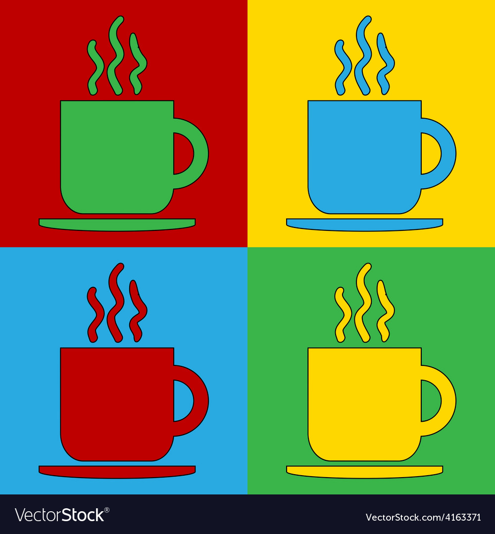 Pop art coffee cup icons vector | Price: 1 Credit (USD $1)