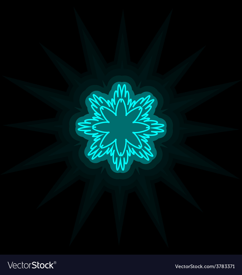 Self-illuminated cyan snowflake isolated on black vector | Price: 1 Credit (USD $1)