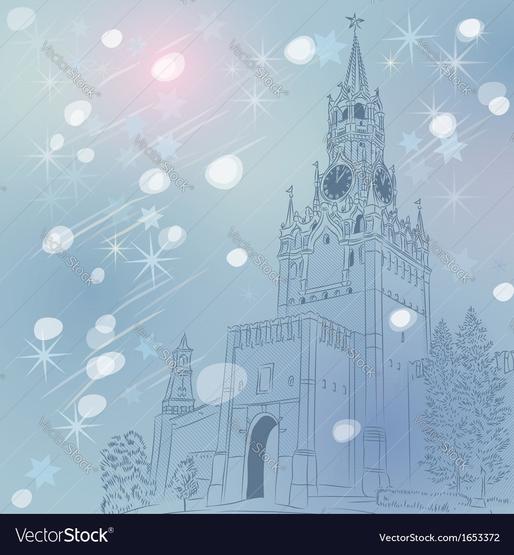 Christmas cityscape of moscow kremlin vector | Price: 1 Credit (USD $1)