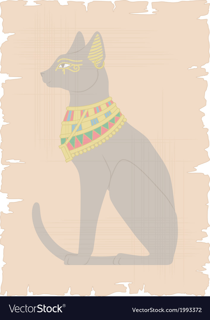 Egyptian cat on papyrus vector | Price: 1 Credit (USD $1)
