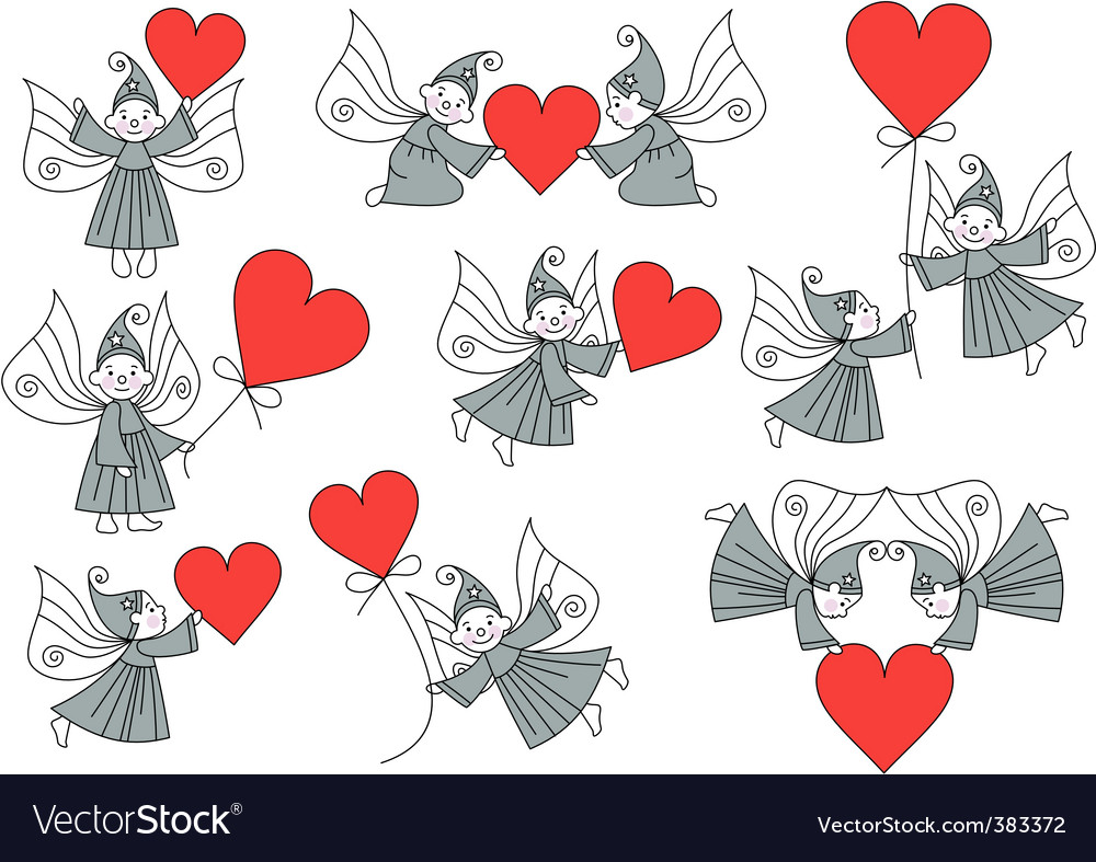 Elves with hearts set vector | Price: 1 Credit (USD $1)
