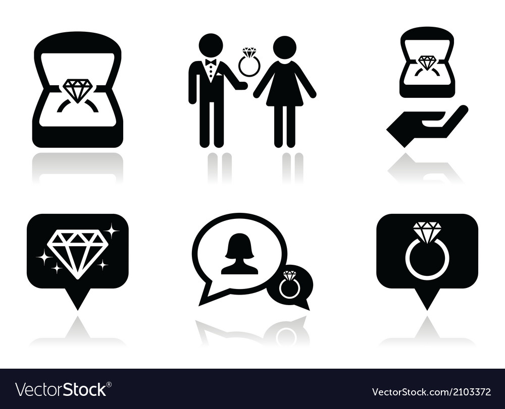 Engagement diamond ring in box icons set vector | Price: 1 Credit (USD $1)