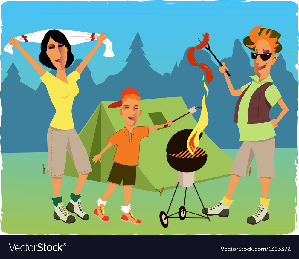 Family camping vector | Price: 3 Credit (USD $3)