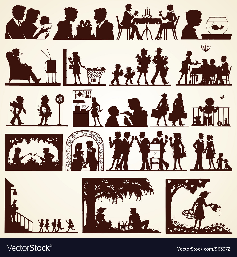 Family silhouettes set vector
