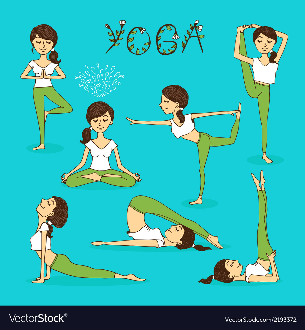 Hand-drawn yoga poses vector | Price: 1 Credit (USD $1)