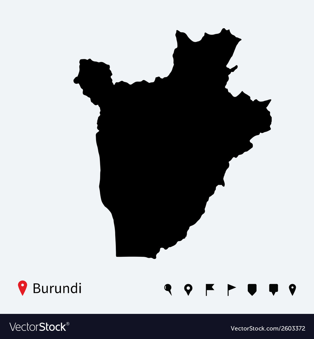 High detailed map of burundi with navigation pins vector | Price: 1 Credit (USD $1)