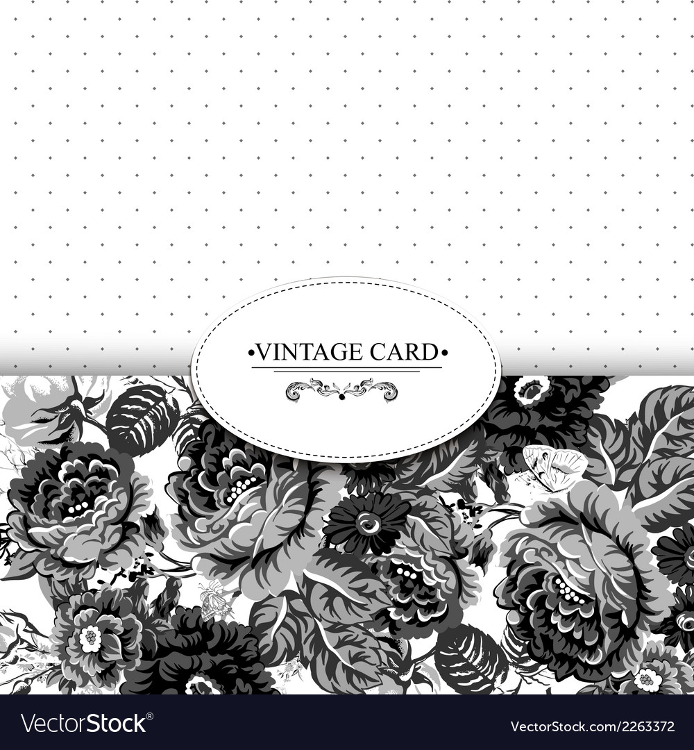 Monochrome vintage floral card with roses vector | Price: 1 Credit (USD $1)