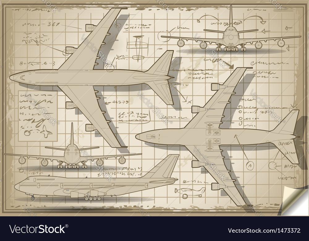 Plane project in five orthogonal views vector | Price: 1 Credit (USD $1)