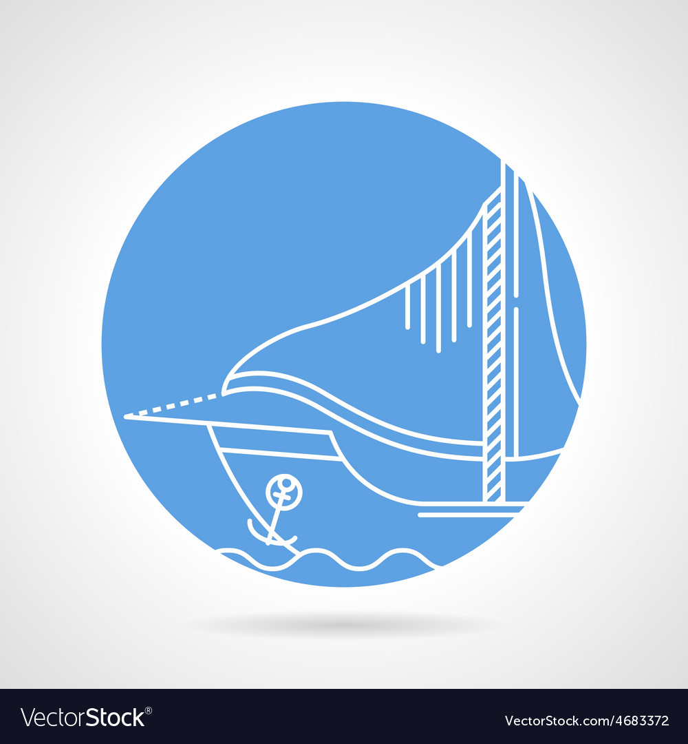Sail boat round icon vector | Price: 1 Credit (USD $1)