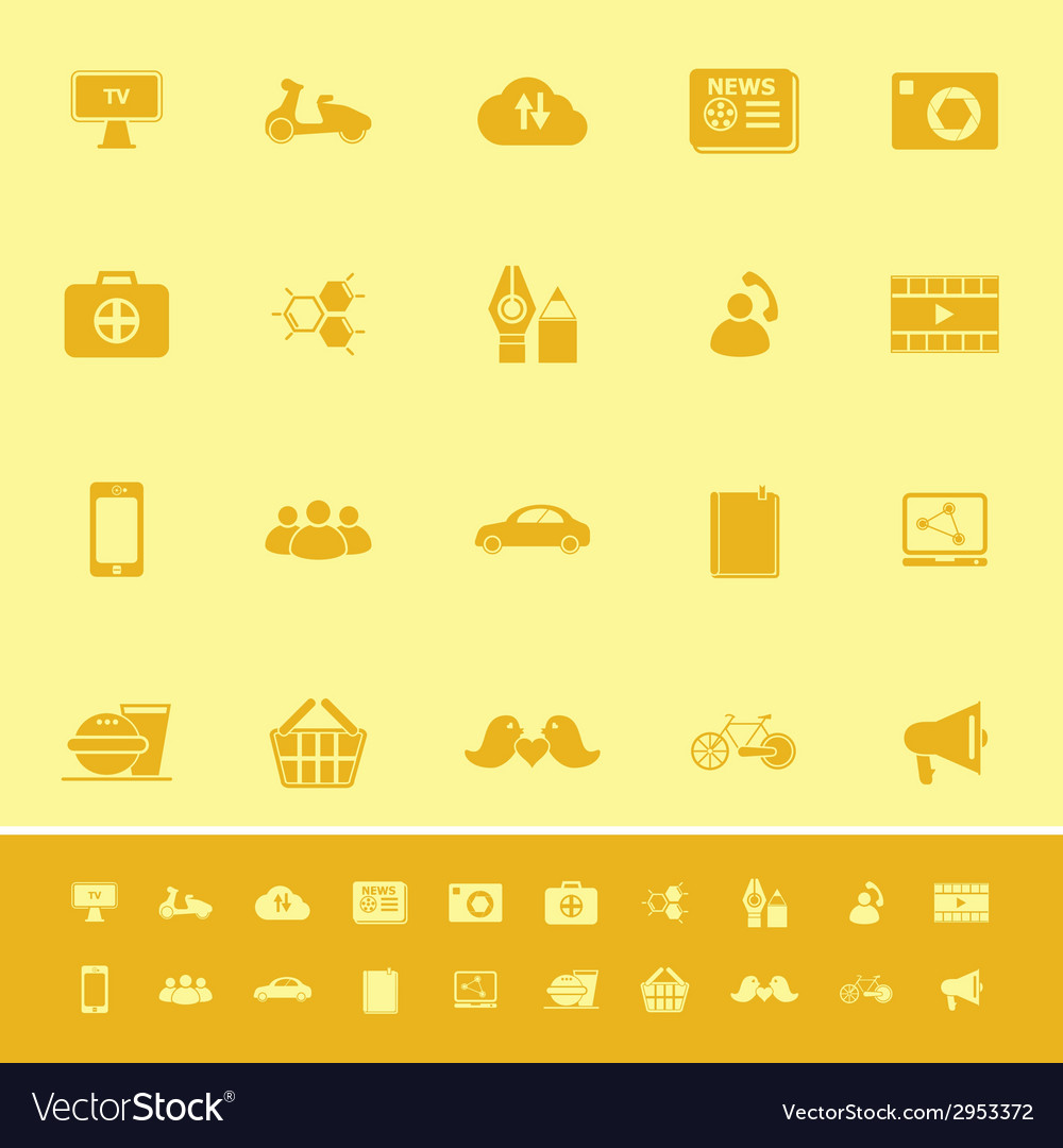 Social network color icons on yellow background vector | Price: 1 Credit (USD $1)