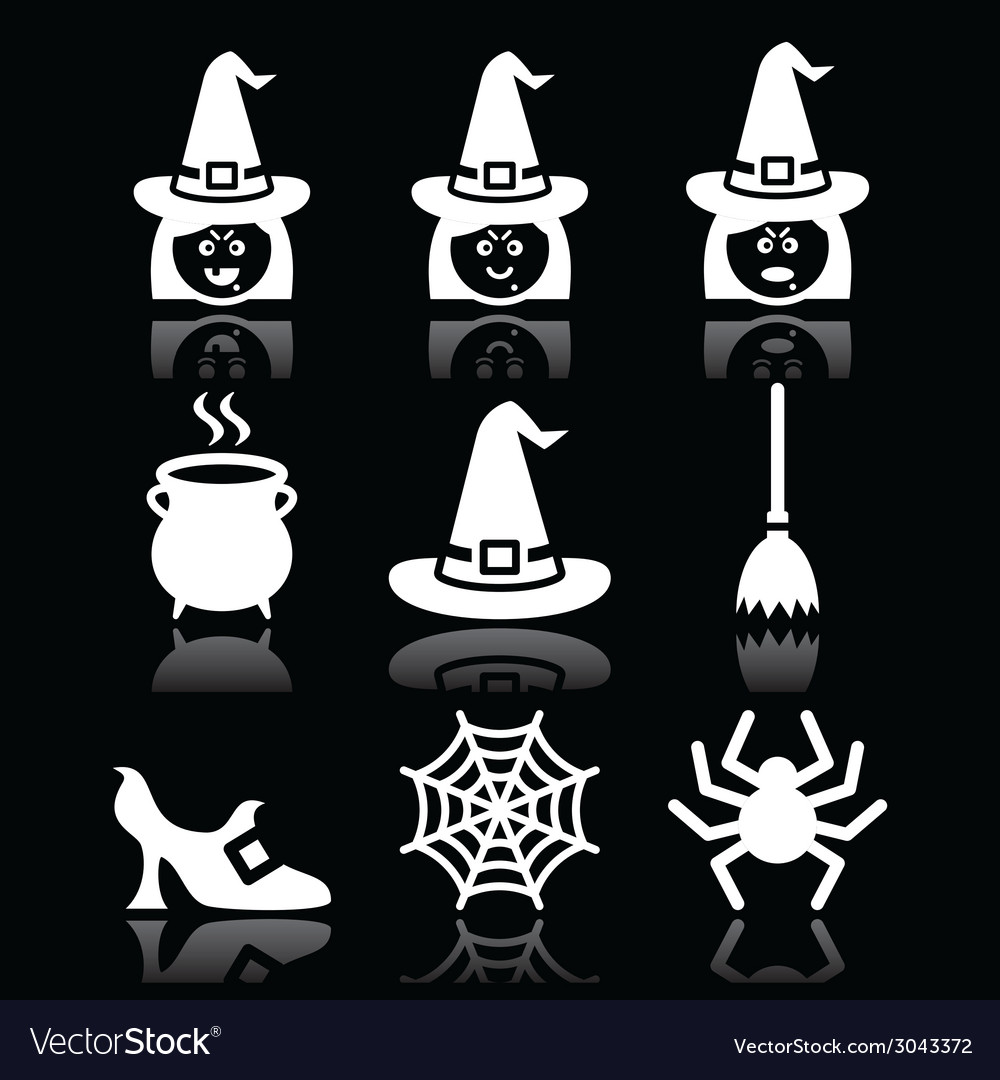 Witch halloween icons set on black vector | Price: 1 Credit (USD $1)