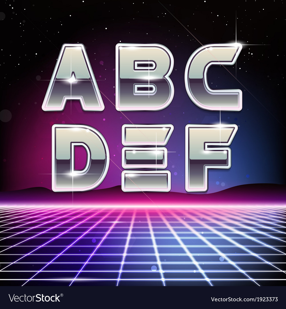80s retro sci-fi font from a to f vector | Price: 1 Credit (USD $1)