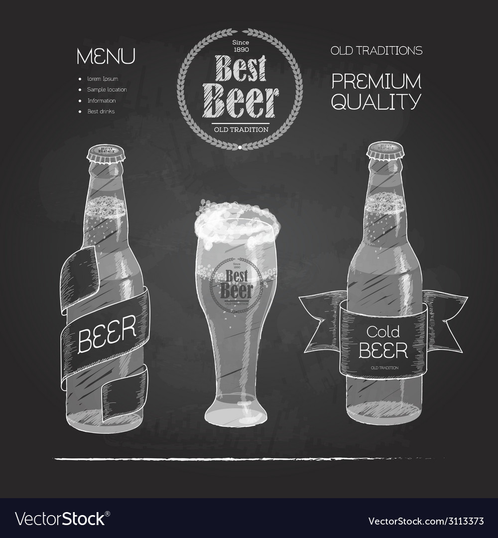 Beer in bottle and glass chalk drawing vector