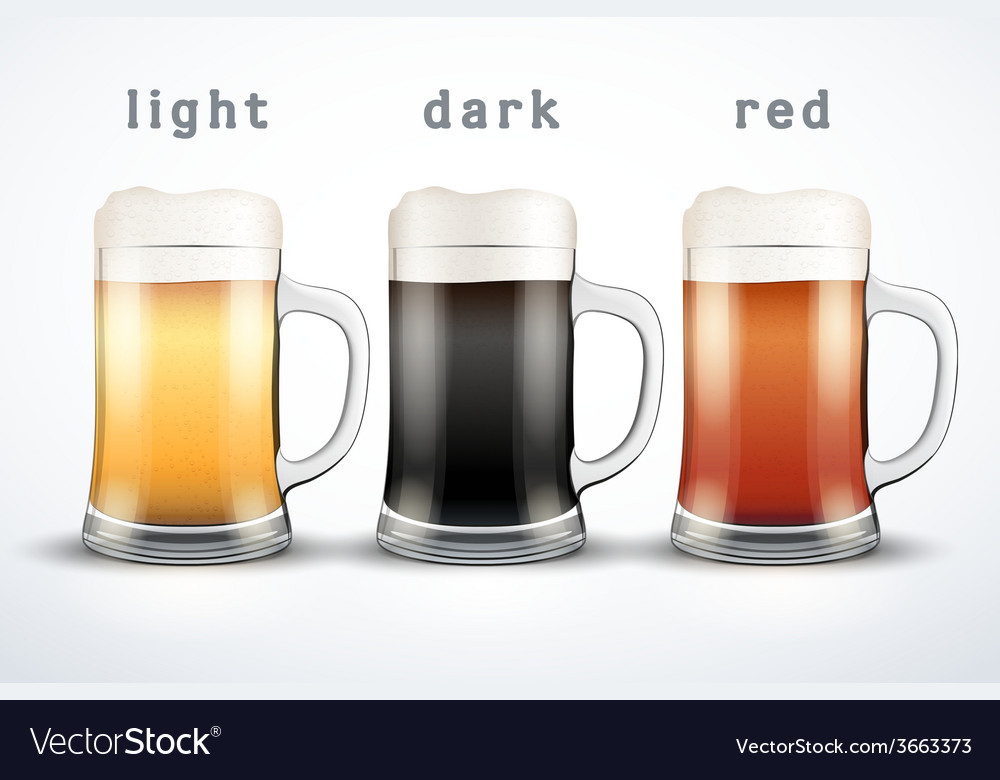 Beer mugs with three brands vector | Price: 1 Credit (USD $1)
