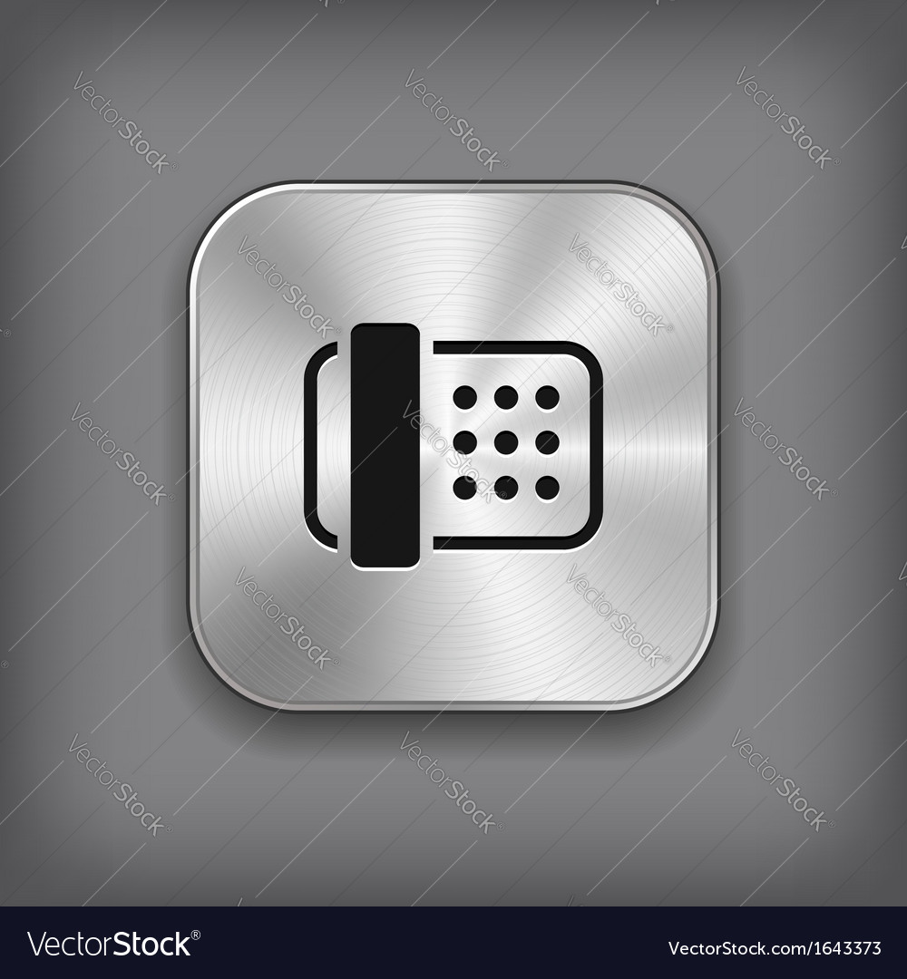Fax icon - metal app button vector | Price: 1 Credit (USD $1)