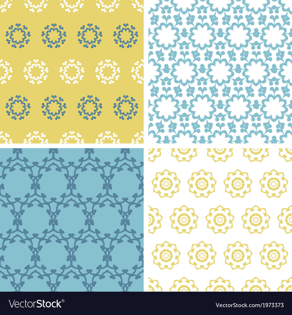 Four abstract yellow blue abstract florals vector | Price: 1 Credit (USD $1)