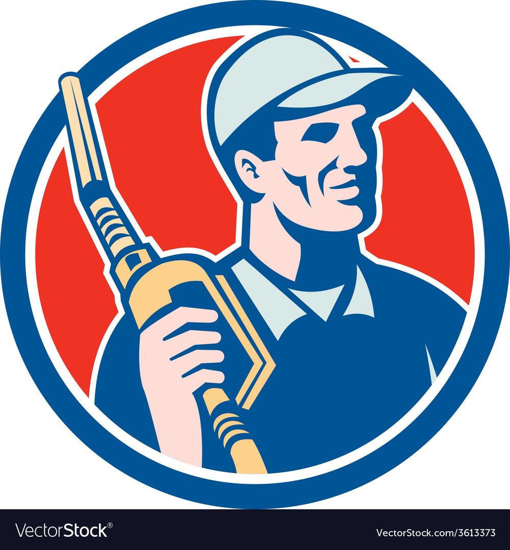 Gas pump attendant jockey nozzle circle vector | Price: 1 Credit (USD $1)