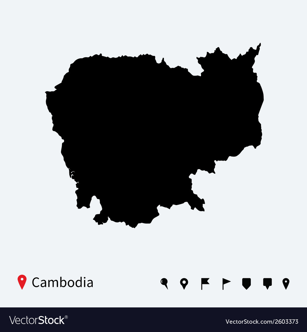 High detailed map of cambodia with navigation pins vector | Price: 1 Credit (USD $1)
