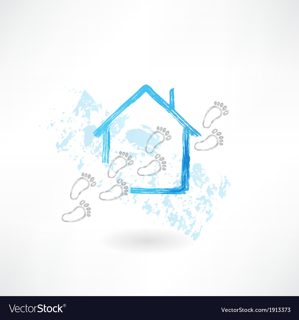 House and footsteps grunge icon vector | Price: 1 Credit (USD $1)