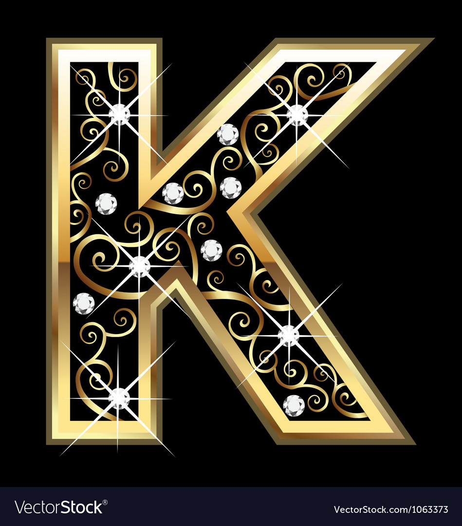 K gold letter with swirly ornaments vector | Price: 1 Credit (USD $1)