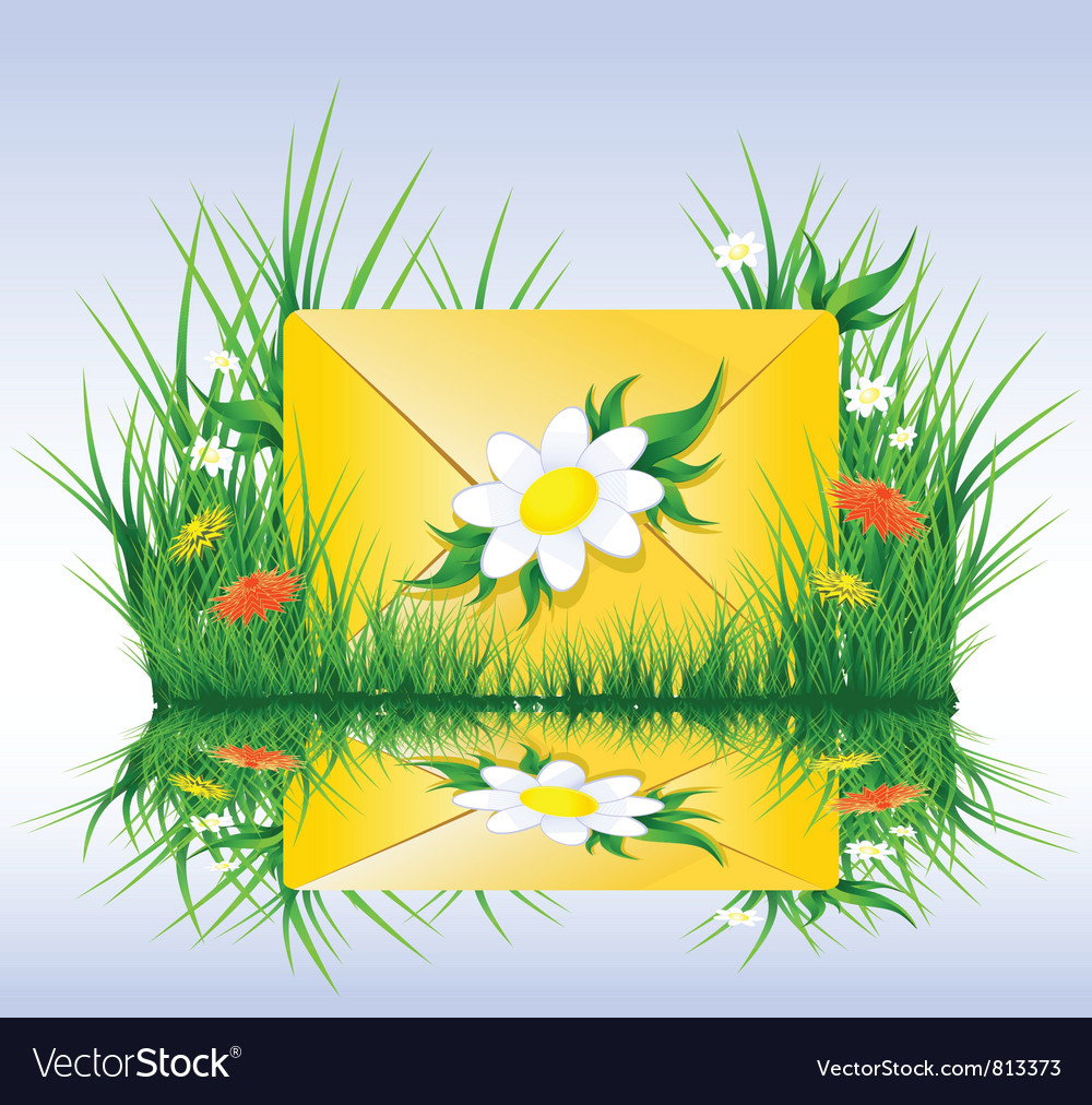 Letter or sms in grass spring summer style vector | Price: 1 Credit (USD $1)