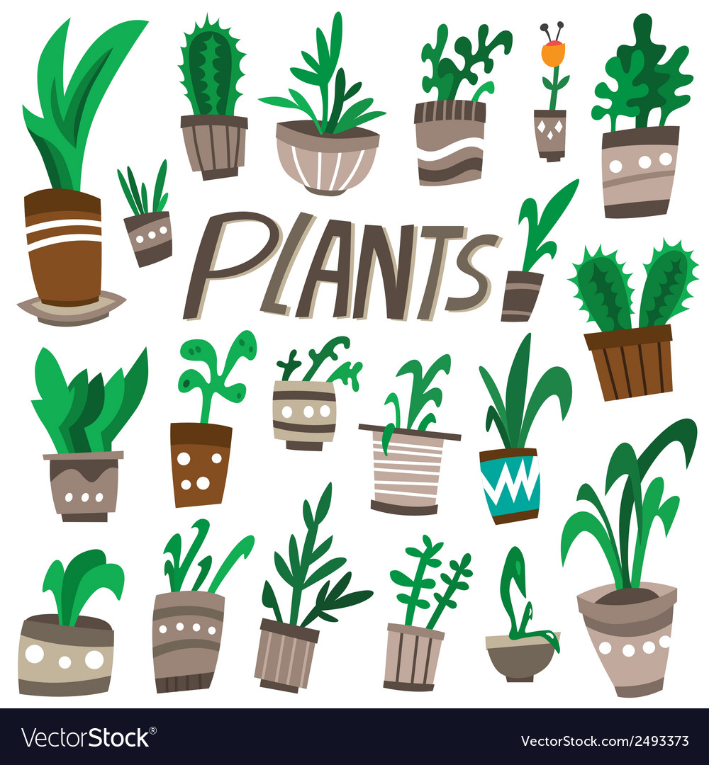 Plants in a pots vector | Price: 1 Credit (USD $1)