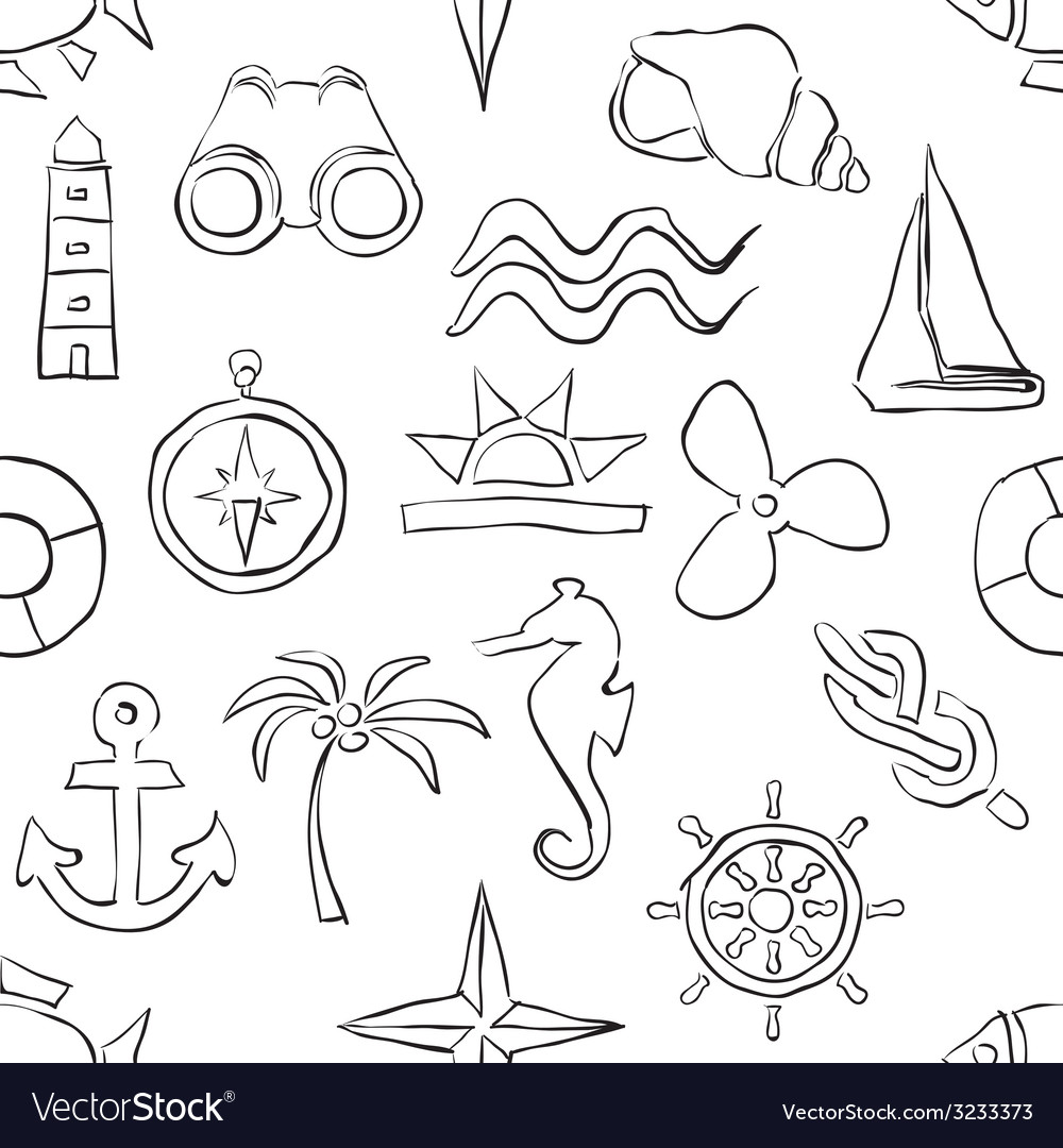 Seamless sketch marine pattern vector | Price: 1 Credit (USD $1)