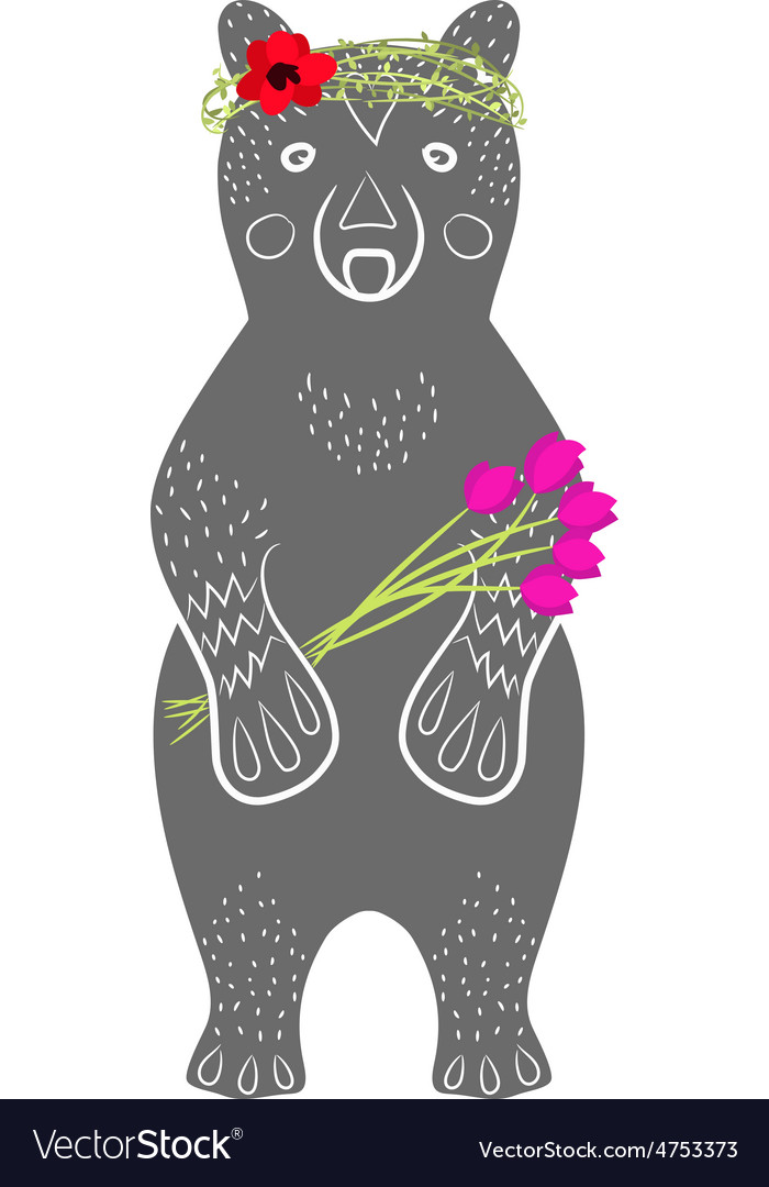 Standing grey bear cartoon animal with flowers vector | Price: 1 Credit (USD $1)