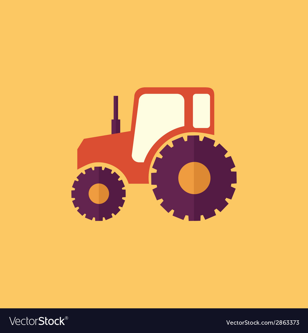 Tractor transportation flat icon vector | Price: 1 Credit (USD $1)