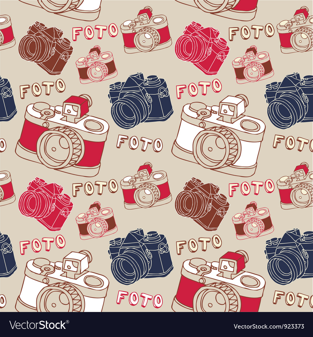 Vintage camera photography pattern vector | Price: 1 Credit (USD $1)