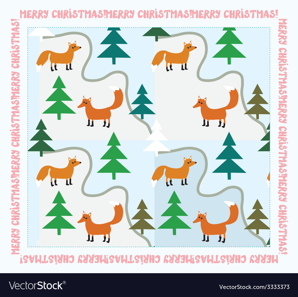 Vintage christmas card with foxes vector | Price: 1 Credit (USD $1)